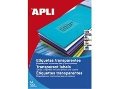 APLI Etiqueta l/c transparentes poliester 210x297 100hojas