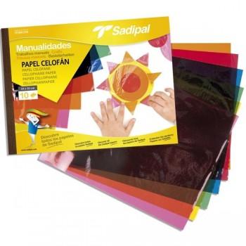 Bloc 10 hojas papel celofán 32x24cm colores surtidos