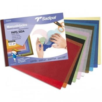 Bloc 10 hojas papel seda  32x 24cm colores surtidos