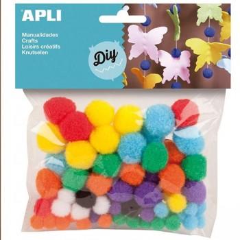 SMART Pack 100 pompones surtidos de colores y tamaños