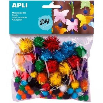 SMART Pack 100 pompones surtidos de colores y tamaños brillantes