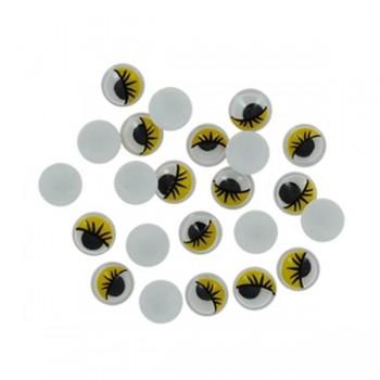 "SMART Pack 50 \""OJOS MOVILES\"" ovalados adhesivos amarillos 10mm"