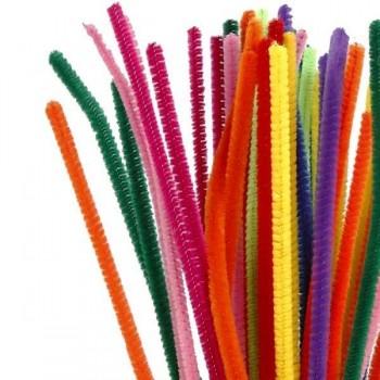 SMART Pack 50 varitas flexibles 30cmx6mm limpiapipas purpurina verde-rojo