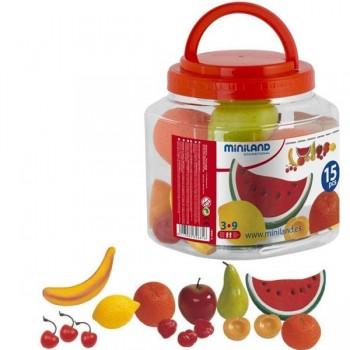 Bote con asa con 15 piezas de fruta