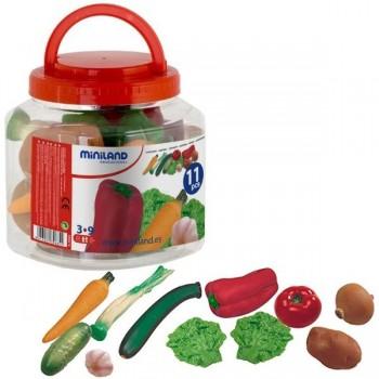 Bote con asa con 11 piezas de hortalizas