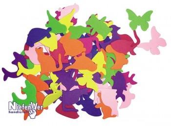 Bolsa 100 animales caucho eva colores y tamaños surtidos