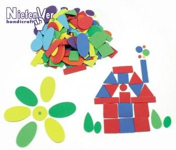 Bolsa 200 formas geométricas caucho eva colores y tamaños surtidos