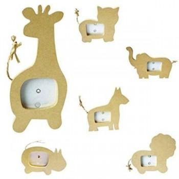 Pack 6 unid. marcos de mardera con figuras de animales para decorar