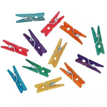 APLI Pack 45 mini pinzas de madera 25x3 mm colores suritidos
