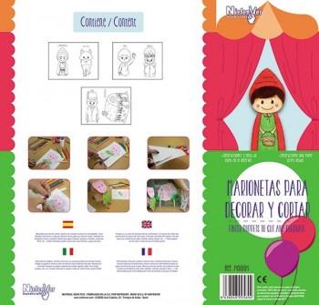 Pack 5 marionetas cuento Caperucita y casa de la abuelita