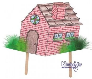 Pack 4 marionetas y 3 casas cuento los 3 cerditos