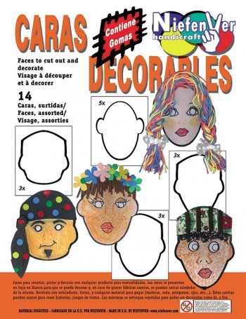 Pack 14 caretas humanas de cartulina blanca para decorar