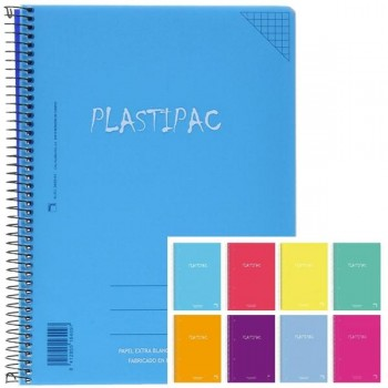 Pack 5 cuadernos tapa polipropileno plastipac 90 gr. 80 hojas horizontal 8 tamaño folio colores surt