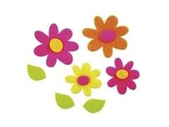Pack 100 flores fieltro autoadhesivas