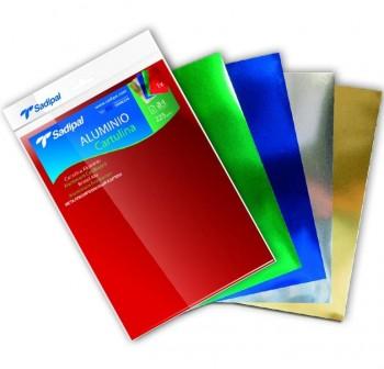Pack 5 hojas de cartulina de aluminio A4 5 colores surtidos brillantes