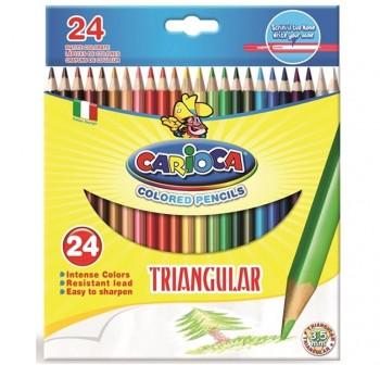 Caja 24 l pices de colores triangulares Carioca colores surtidos