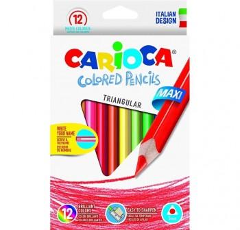 Caja 12 l pices de colores triangulares Jumbo Carioca colores surtidos