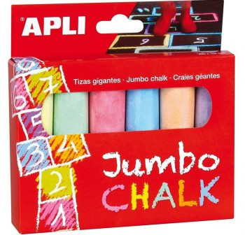 Caja 6 tizas redondas Jumbo colores surtidos