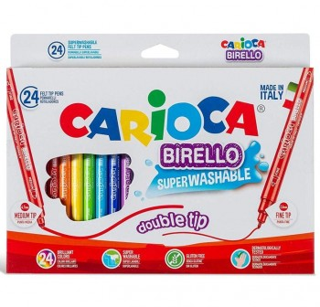 Caja 24 rotuladores doble punta Birello Carioca colores surtidos