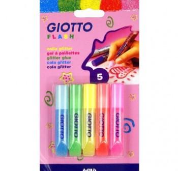Blister 5 Tubos cola glitter glue flash giotto 5,5 ml, 5 colores