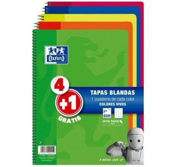 OXFORD Pack 4+1 cuadernos tapa cartón 80h 90g cuadrícula 4X4 Folio colores vivos