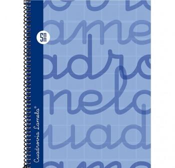 Lamela  Cuaderno tapa forrada 80h 70g cuadrovía 5mm 4º azul
