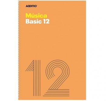 Additio Cuaderno de música Basic12 20h 12 pentagramas-10mm espiral Folio