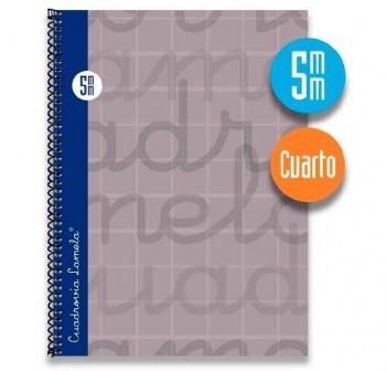 Lamela  Cuaderno tapa forrada 80h 70g cuadrovía 5mm 4º gris