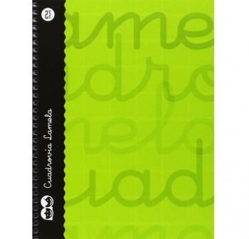 Lamela  Cuaderno tapa forrada 80h 70g cuadrovía 2,5mm 4º verde