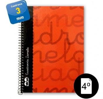 Lamela  Cuaderno tapa forrada 80h 70g cuadrovía 3mm 4º rojo