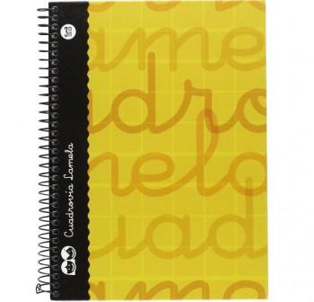 Lamela  Cuaderno tapa forrada 80h 70g cuadrovía 3mm 4º amarillo