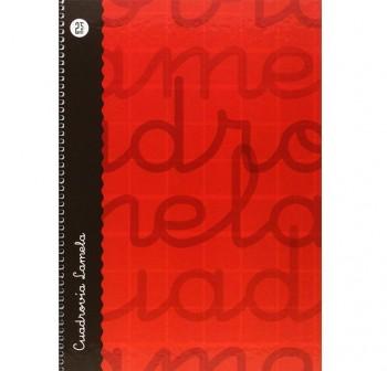 Lamela  Cuaderno tapa forrada 80h 70g cuadrovía 2,5mm Folio rojo