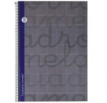 Lamela  Cuaderno tapa forrada 80h 70g cuadrovía 3mm Folio gris