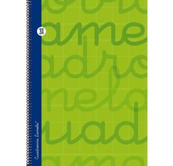 Lamela  Cuaderno tapa forrada 80h 70g cuadrovía 3mm Folio verde
