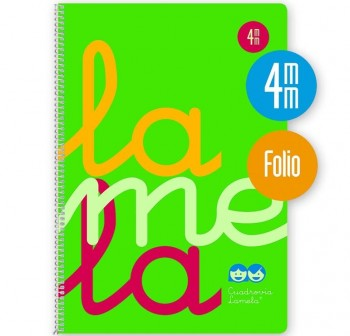Lamela Cuaderno tapa polipropileno 80h 90g cuadrovía 4mm Folio verde flúor