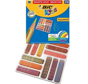 Bic Caja School Pack 216 lápices de colores Tropicolors colores surtidos