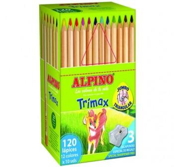 Alpino Caja School Pack 120 lápices de colores Alpino Trimax colores surtidos