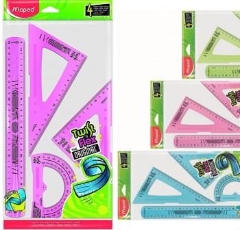 Maped Conjunto 4 piezas Twist'n flex regla 20cm, escuadra y cartabón  21cm y transportador 12cm
