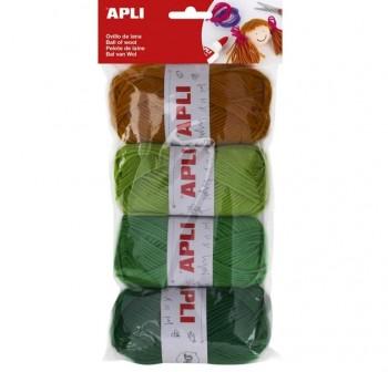 Apli Bolsa 4 ovillos de lana 50g  tonos verde