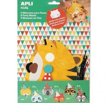 Apli Bolsa 6 máscaras cartón animales