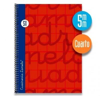 Lamela  Cuaderno tapa forrada 80h 70g cuadrovía 5mm 4º rojo
