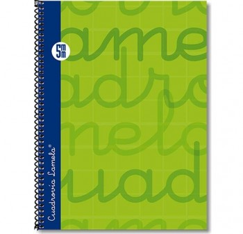 Lamela  Cuaderno tapa forrada 80h 70g cuadrovía 5mm 4º verde