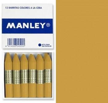 Caja 12 barritas ceras manley ocre dorado
