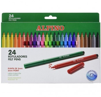 Estuche 24 Rotuladores de colores alpino estandar