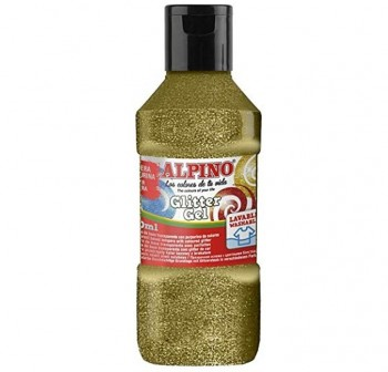 Bote tempera liquida purpurina alpino glitter gel 250 ml color oro