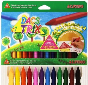 Estuche 12 ceras triangulares dacstrix colores surtidos