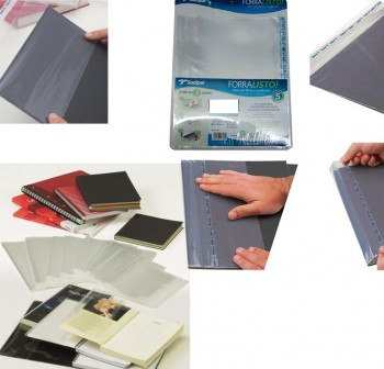 Blister 25 Fundas polipropileno con sistema de ajuste Adhesivo 80 micras 28x50,5cm transparente