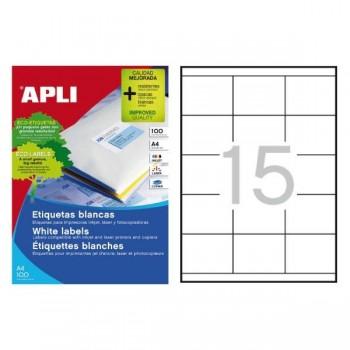APLI Etiqueta inkjet / laser / copy adhesiva permanente cantos rectos en A4 caja de 100 hojas
