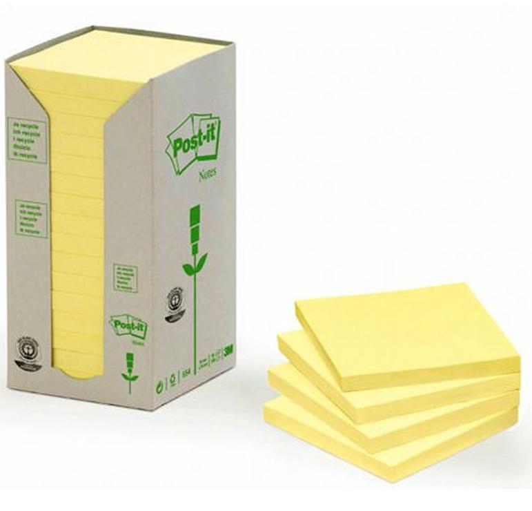 Pack 16 Blocs Post-it 654 reciclado 76x76mm arcoIris pastel tonos amarillos