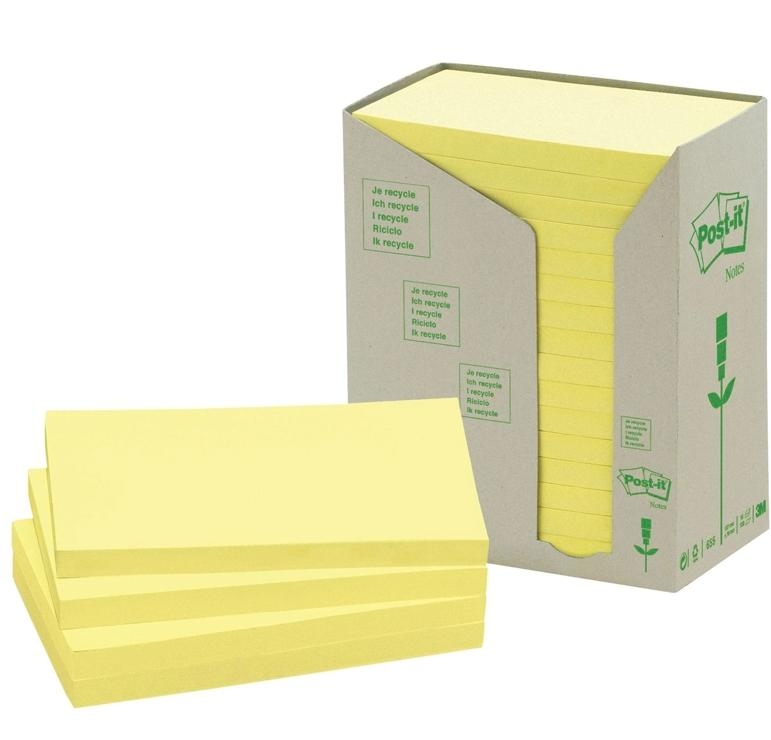 Pack 16 Blocs Post-it 655 reciclado 76x127mm arcoIris pastel tonos amarillos